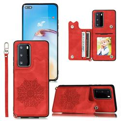 Luxury Mandala Multi-function Magnetic Card Slots Stand Leather Back Cover for Huawei P40 - Red