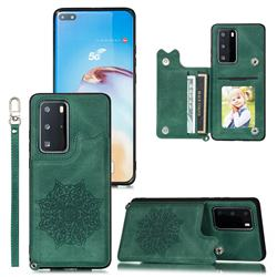 Luxury Mandala Multi-function Magnetic Card Slots Stand Leather Back Cover for Huawei P40 - Green