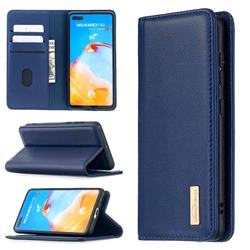Binfen Color BF06 Luxury Classic Genuine Leather Detachable Magnet Holster Cover for Huawei P40 - Blue