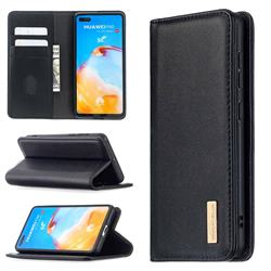 Binfen Color BF06 Luxury Classic Genuine Leather Detachable Magnet Holster Cover for Huawei P40 - Black