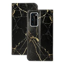 Black Gold Marble PU Leather Wallet Case for Huawei P40