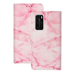 Pink Marble PU Leather Wallet Case for Huawei P40