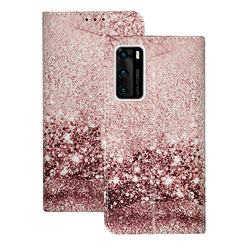 Glittering Rose Gold PU Leather Wallet Case for Huawei P40