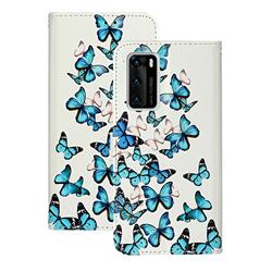 Blue Vivid Butterflies PU Leather Wallet Case for Huawei P40