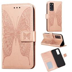 Intricate Embossing Vivid Butterfly Leather Wallet Case for Huawei P40 - Rose Gold