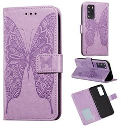 Intricate Embossing Vivid Butterfly Leather Wallet Case for Huawei P40 - Purple