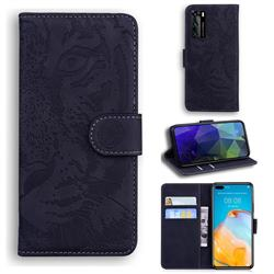 Intricate Embossing Tiger Face Leather Wallet Case for Huawei P40 - Black