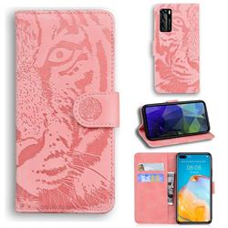 Intricate Embossing Tiger Face Leather Wallet Case for Huawei P40 - Pink