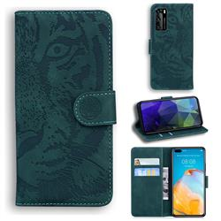 Intricate Embossing Tiger Face Leather Wallet Case for Huawei P40 - Green