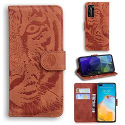 Intricate Embossing Tiger Face Leather Wallet Case for Huawei P40 - Brown