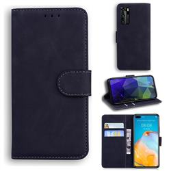 Retro Classic Skin Feel Leather Wallet Phone Case for Huawei P40 - Black