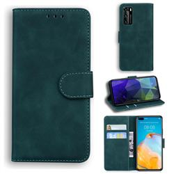 Retro Classic Skin Feel Leather Wallet Phone Case for Huawei P40 - Green