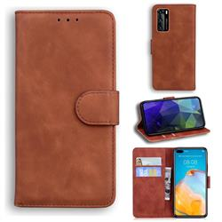 Retro Classic Skin Feel Leather Wallet Phone Case for Huawei P40 - Brown