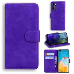 Retro Classic Skin Feel Leather Wallet Phone Case for Huawei P40 - Purple