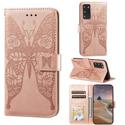 Intricate Embossing Rose Flower Butterfly Leather Wallet Case for Huawei P40 - Rose Gold