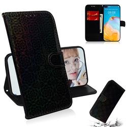 Laser Circle Shining Leather Wallet Phone Case for Huawei P40 - Black