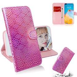 Laser Circle Shining Leather Wallet Phone Case for Huawei P40 - Pink