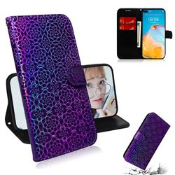 Laser Circle Shining Leather Wallet Phone Case for Huawei P40 - Purple