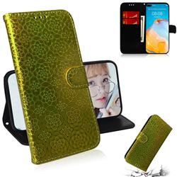 Laser Circle Shining Leather Wallet Phone Case for Huawei P40 - Golden