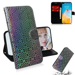 Laser Circle Shining Leather Wallet Phone Case for Huawei P40 - Silver