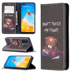 Chainsaw Bear Slim Magnetic Attraction Wallet Flip Cover for Huawei P40