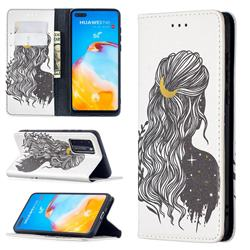 Girl with Long Hair Slim Magnetic Attraction Wallet Flip Cover for Huawei P40
