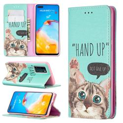 Hand Up Cat Slim Magnetic Attraction Wallet Flip Cover for Huawei P40