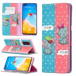 Elephant Boy and Girl Slim Magnetic Attraction Wallet Flip Cover for Huawei P40