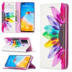 Sun Flower Slim Magnetic Attraction Wallet Flip Cover for Huawei P40