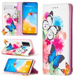 Flying Butterflies Slim Magnetic Attraction Wallet Flip Cover for Huawei P40