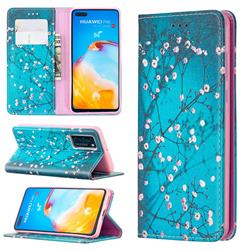 Plum Blossom Slim Magnetic Attraction Wallet Flip Cover for Huawei P40