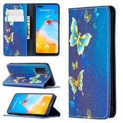 Gold Butterfly Slim Magnetic Attraction Wallet Flip Cover for Huawei P40