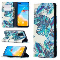 Blue Leaf Slim Magnetic Attraction Wallet Flip Cover for Huawei P40