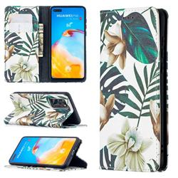 Flower Leaf Slim Magnetic Attraction Wallet Flip Cover for Huawei P40
