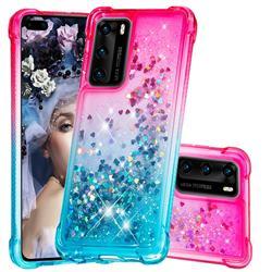 Rainbow Gradient Liquid Glitter Quicksand Sequins Phone Case for Huawei P40 - Pink Blue