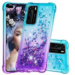 Rainbow Gradient Liquid Glitter Quicksand Sequins Phone Case for Huawei P40 - Blue Purple