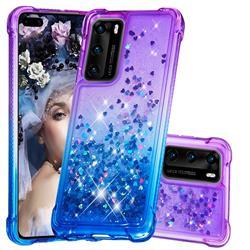 Rainbow Gradient Liquid Glitter Quicksand Sequins Phone Case for Huawei P40 - Purple Blue