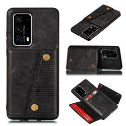 Retro Multifunction Card Slots Stand Leather Coated Phone Back Cover for Huawei P40 - Black