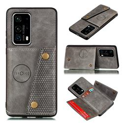 Retro Multifunction Card Slots Stand Leather Coated Phone Back Cover for Huawei P40 - Gray
