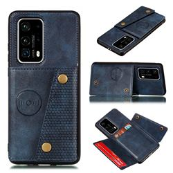 Retro Multifunction Card Slots Stand Leather Coated Phone Back Cover for Huawei P40 - Blue