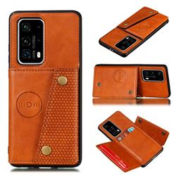 Retro Multifunction Card Slots Stand Leather Coated Phone Back Cover for Huawei P40 - Brown