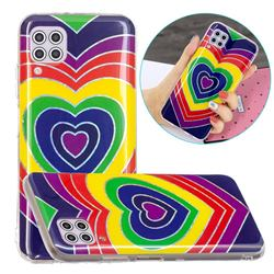 Rainbow Heart Painted Galvanized Electroplating Soft Phone Case Cover for Huawei P40 Lite