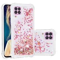 Dynamic Liquid Glitter Sand Quicksand TPU Case for Huawei P40 Lite - Rose Gold Love Heart