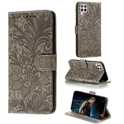 Intricate Embossing Lace Jasmine Flower Leather Wallet Case for Huawei P40 Lite - Gray