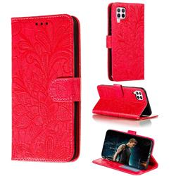 Intricate Embossing Lace Jasmine Flower Leather Wallet Case for Huawei P40 Lite - Red