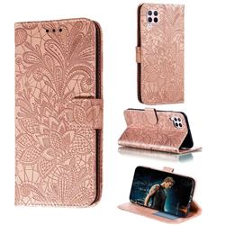 Intricate Embossing Lace Jasmine Flower Leather Wallet Case for Huawei P40 Lite - Rose Gold