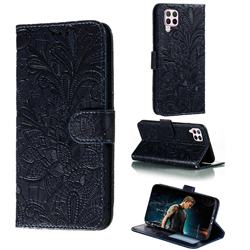 Intricate Embossing Lace Jasmine Flower Leather Wallet Case for Huawei P40 Lite - Dark Blue