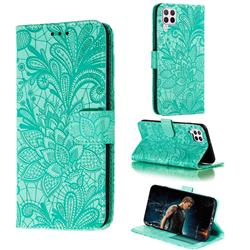Intricate Embossing Lace Jasmine Flower Leather Wallet Case for Huawei P40 Lite - Green