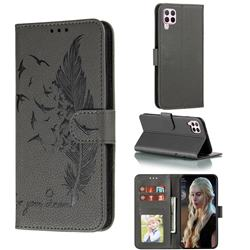 Intricate Embossing Lychee Feather Bird Leather Wallet Case for Huawei P40 Lite - Gray