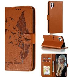Intricate Embossing Lychee Feather Bird Leather Wallet Case for Huawei P40 Lite - Brown